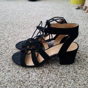 Black faux suede block heel lace up sandals